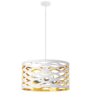 Dainolite White on Gold 4-light Cut-out Drum Shade Pendant