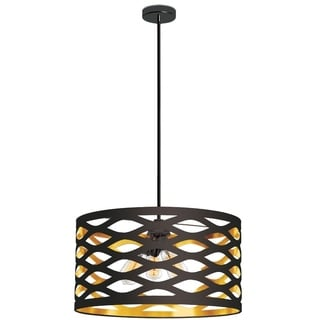 Dainolite Black on Gold 4-light Pendant with Cut-out Drum Shade