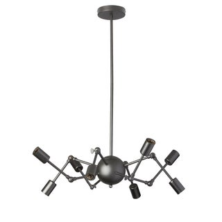 Dainolite 8-light Matte Black Adjustable Chandelier