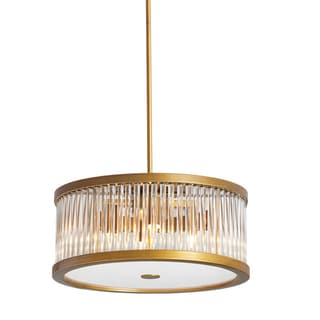 Dainolite Five-light Vintage Bronze and Crystal Pendant Light