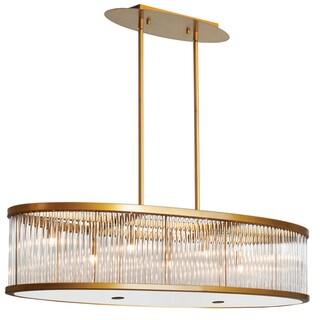Dainolite Vintage Bronze 7-light Oval Pendant With Crystal Rods