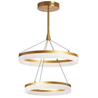 Dainolite Vintage Bronze/Frosted White Aluminum/Acrylic 72-watt LED Circular Diffuser Pendant
