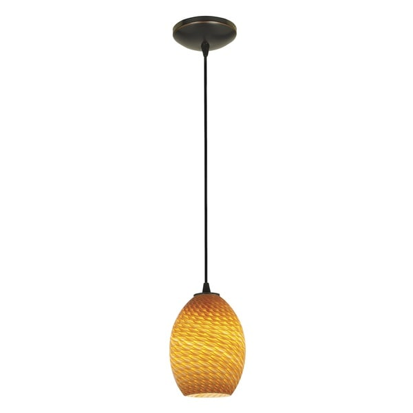 Access Lighting Brandy FireBird Bronze LED Cord Pendant, Amber Firebird Shade