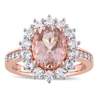 Miadora Rose Plated Silver Morganite and Created White Sapphire Halo Ring