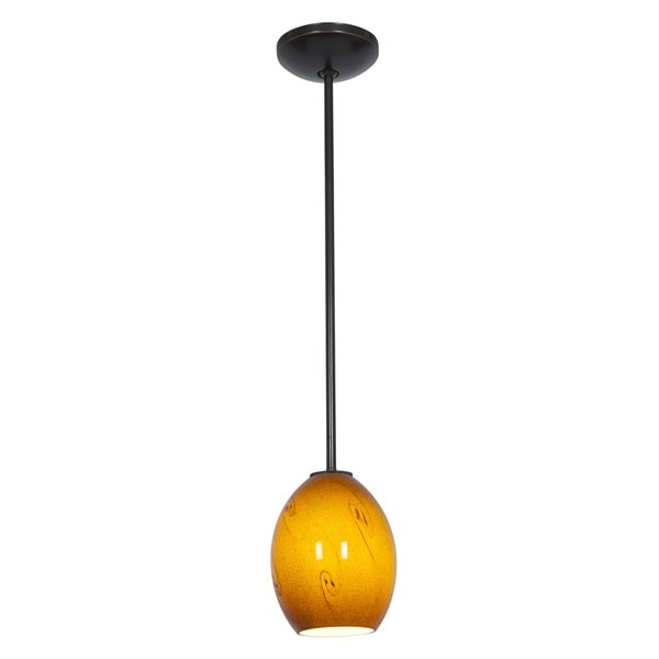 Access Lighting Brandy FireBird Bronze LED Rod Pendant, Amber Sky Shade