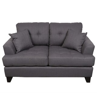 Porter Norwich Charcoal Grey Modern Loveseat with 2 Throw Pillows