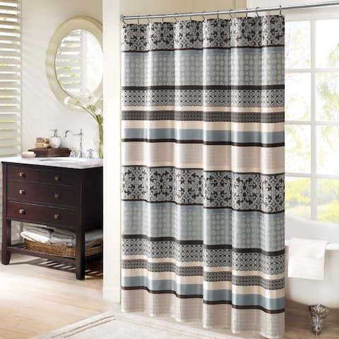 Madison Park Harvard Jacquard Shower Curtain 2-Color Option