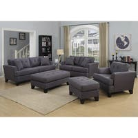 Porter Norwich Charcoal Grey Living Room Set with 4 Throw Pillows