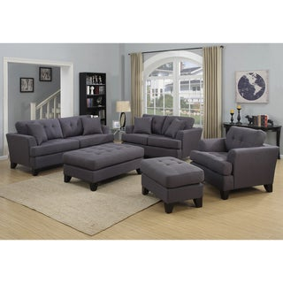 Handmade Norwich Charcoal Gray Living Room Set with 4 Throw Pillows (India)