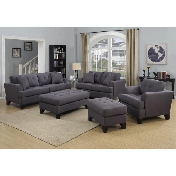 Porter norwich charcoal grey living room set with 4 throw for Living room furniture 0 finance