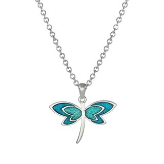 Handmade Jewelry by Dawn Turquoise Aqua Blue Dragonfly Stainless Steel Chain Necklace (USA)