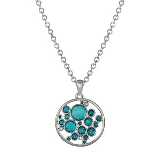 Handmade Jewelry by Dawn Turquoise Blue Bubbles Stainless Steel Chain Necklace