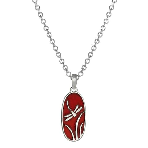 Handmade Jewelry by Dawn Red Dragonfly Stainless Steel Chain Necklace (USA)