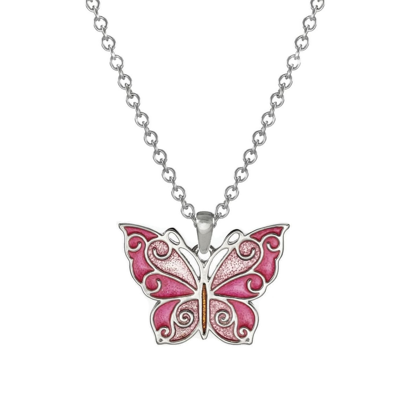 Pink butterfly necklace