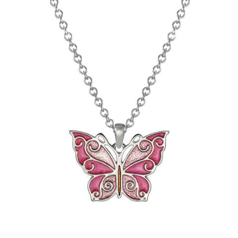 Handmade Jewelry by Dawn Pink Butterfly Stainless Steel Chain Necklace (USA)