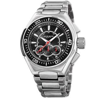 Akribos XXIV Men's Quartz Chronograph Silver-Tone Bracelet Watch
