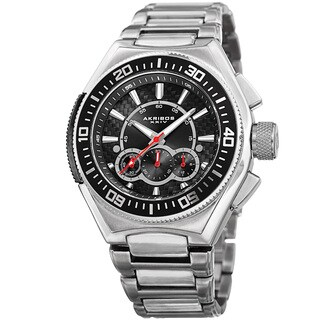 Akribos XXIV Men's Quartz Chronograph Silver-Tone Bracelet Watch