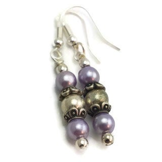 Mama Designs Sterling Silver Handmade Drop-style Purple Earrings