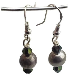 Mama Designs Sterling Silver and Green Olivine Handmade Drop Style Earrings