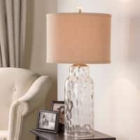 Catalina Ollie 19144-001 3-Way 29-Inch Clear Dimpled Glass Table Lamp with Textured Linen Drum Hardback Shade, Bulb Included