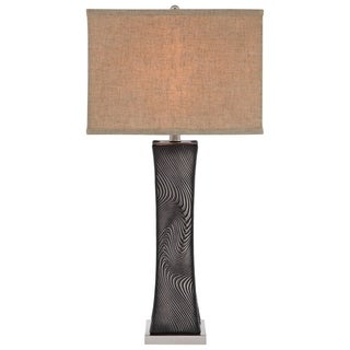 Catalina 19136-001 Textured Ceramic 3-way 31-inch Swirled Table Lamp with Square Linen Hardback Shade