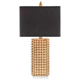 Catalina Manhattan 19104-001 3-Way 28.75-Inch Square Gold Spiked Table Lamp with Rectangular Faux Silk Shade, Bulb Included