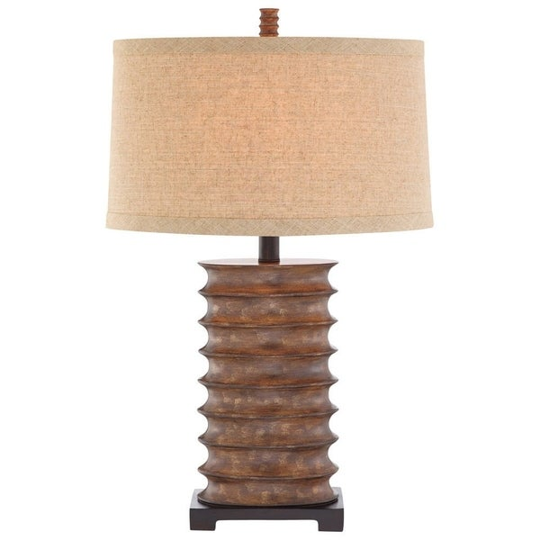 Catalina Pierce 19093-001 3-Way 30-Inch Rustic Bronze Table Lamp with Textured Linen Modified Drum Shade, Bulb Included