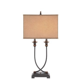 Catalina Oil-rubbed Bronze Metal/Resin 31.5-inch Table Lamp with Linen Softback Shade and Bulb