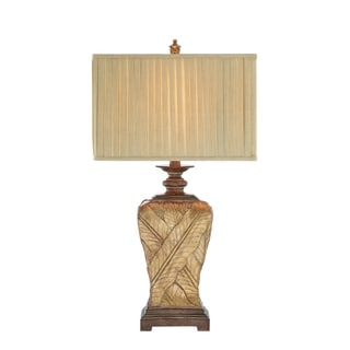 Catalina Paulina 19083-001 3-Way 32-Inch Wrapped Leaf Table Lamp with Rectangular Pleated Fabric Shade, Bulb Included