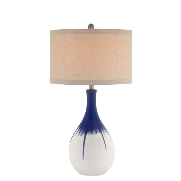 Catalina Layla 19062-001 3-Way 30-Inch Cobalt Blue Ceramic Table Lamp w Ombre Glaze, Linen Drum Hardback Shade, Bulb Included