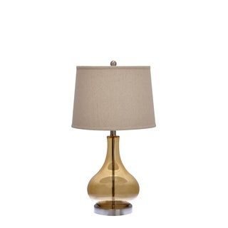 Catalina Amber Glass 3-Way Gourd Table Lamp with Ivory Linen Drum Shade