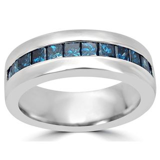 Noori 14k Gold 1ct Blue Princess Cut Diamond Mens Wedding Band Ring