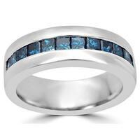 Noori 14k Gold 1ct Blue Princess Cut Diamond Mens Wedding Band Ring