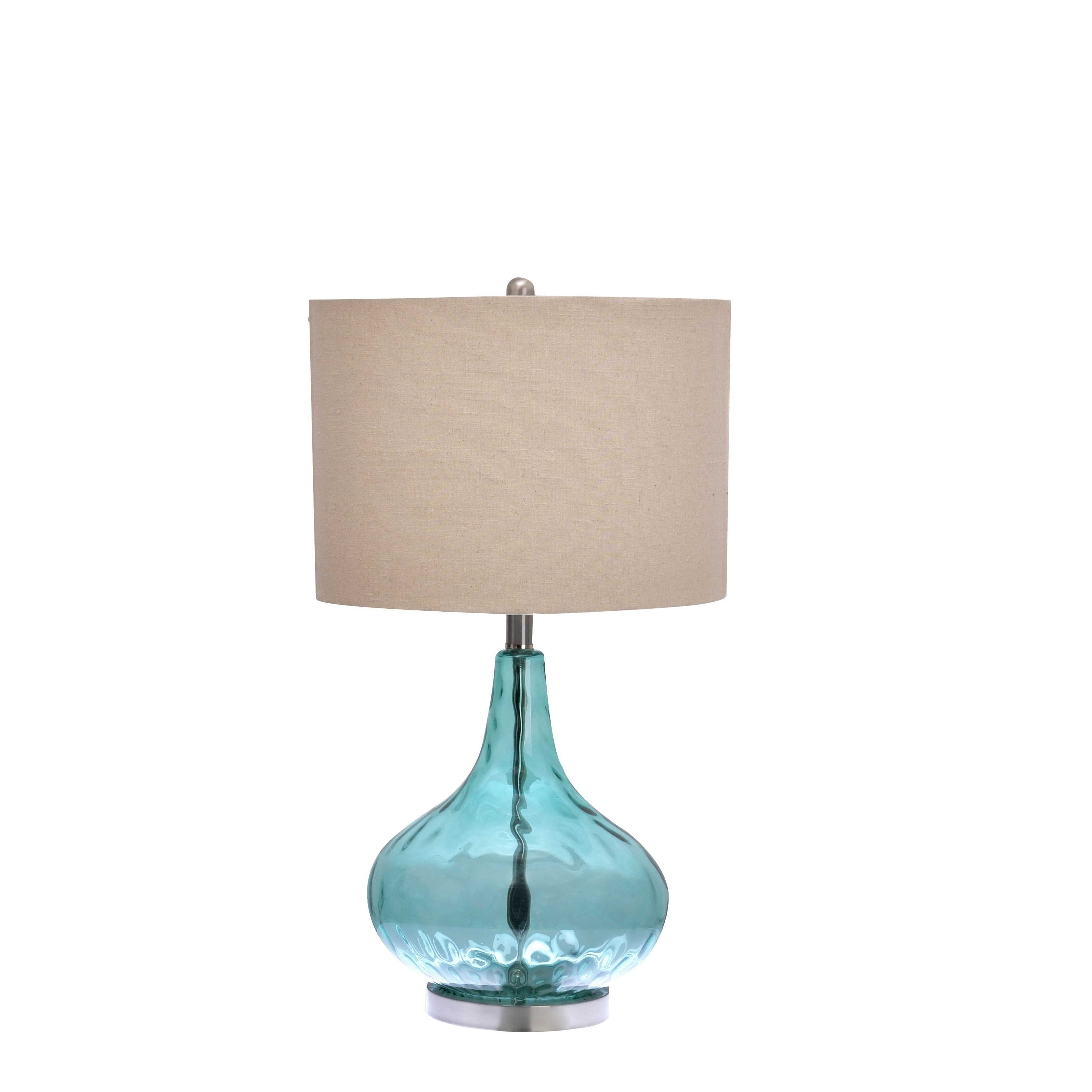 Copper Grove Laurier Catalina Blue Glass 3-way Gourd Table Lamp