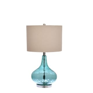 blue glass lamp. Catalina Blue Glass 3-Way Gourd Table Lamp
