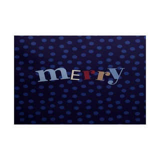 Merry Dot Word Print Indoor/ Outdoor Rug (5' x 7')