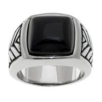 Stainless Steel Ring with Black Agate and Black Irhodium Plating (Size 10)