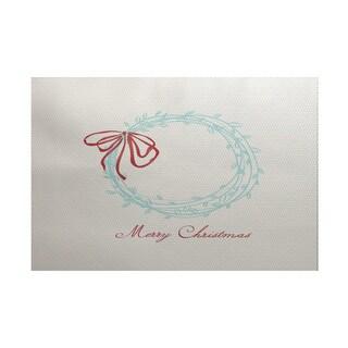 Merry Wishes Word Print Indoor/ Outdoor Rug (5' x 7')