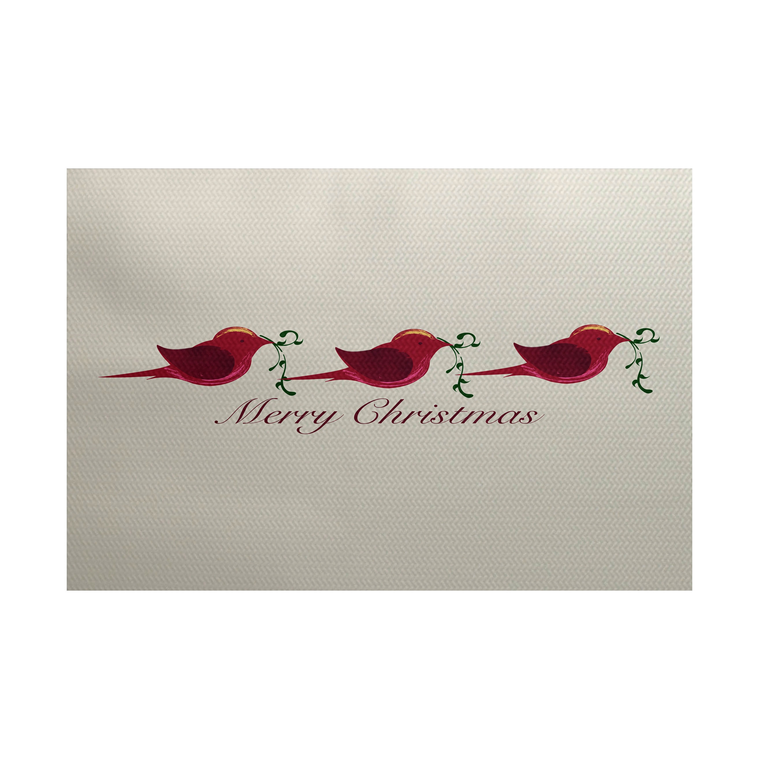 Merry Christmas Birds Word Print Indoor Outdoor Rug 3 X 5