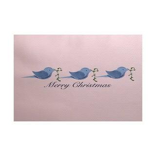 Merry Christmas Birds Word Print Indoor/ Outdoor Rug (3' x 5')