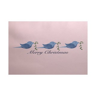 Merry Christmas Birds Word Print Indoor/ Outdoor Rug (5' x 7')