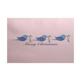 Merry Christmas Birds Word Print Indoor/ Outdoor Rug (2' x 3')