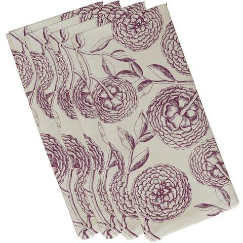 19 x 19-inch Antique Flowers Floral Print Napkin (Set of 4)