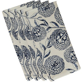 19 x 19-inch Antique Flowers Floral Print Napkin (Set of 4)