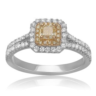 18K Gold Yellow Diamond Ring