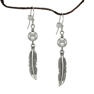 Jewelry by Dawn Silver Crystal Pearl With Curved Pewter Feather Earrings