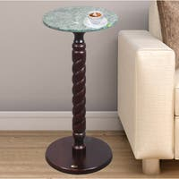 Uniqueware Brown Solid Wood Round Side Table with Green Marble Top