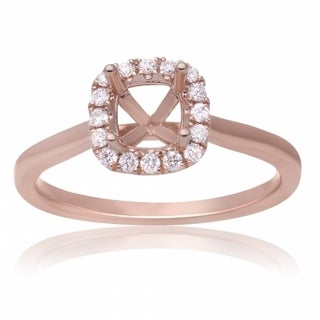 14K Rose Gold Semimount Halo Diamond Ring to fiit a 4.5mm Cushion