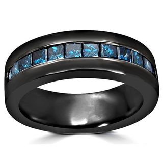 Noori 14k Black Gold 1ct Blue Princess Cut Diamond Mens Wedding Band Ring