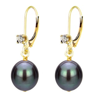 DaVonna 14k Yellow Gold .10tcw CZ Long Shape Black Freshwater Cultured Pearl Lever-back Earrings (8-9mm)